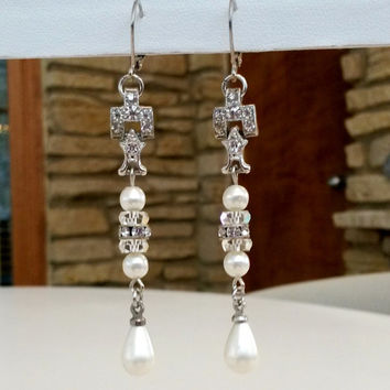 "RePurposed Fx Pearl Crystals Rondelle Silver Tone Pierced Earrings Bridal Jewelry Quartz Vintage 3"" Long OOAK"