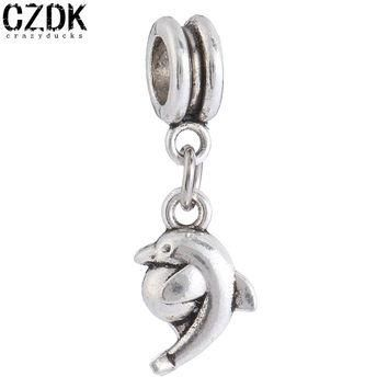 PD25 The Dolphin Charms European Beads Fits Silver Charm pandora Bracelets necklaces p