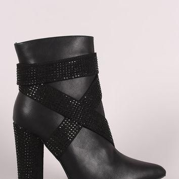 Strappy Rhinestone Accent Chunky Heeled Ankle Boots