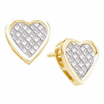 14kt Yellow Gold Women's Princess Diamond Cluster Heart Screwback Stud Earrings 1-2 Cttw - FREE Shipping (US/CAN)