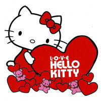 3 X 3 inch Hello Kitty holding red heart with pink teddy bear Valentines Heat IRON ON TRANSFER
