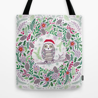 Owl Wreath Tote Bag by Janet Broxon