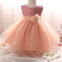 Flower Girl Dress Summer Little Girl Clothes Sparkle Sequins Tutu First Birthday Party Outfit Kids Dresses For Girls Clothing
