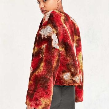 Without Walls Fuzzy Tie-Dye Zip-Up Jacket - Urban Outfitters