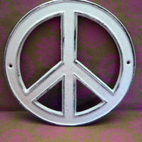 Peace Sign White Cast Iron Circle Wall Decor Rustic Retro Funky 70's Style Shabby Chic Distressed Weathered Wall Art Sign