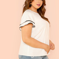 Plus Contrast Wave Lace Trim Layered Ruffle Sleeve Top