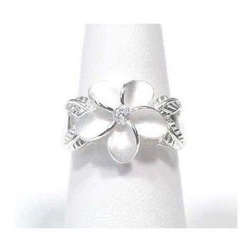 SILVER 14MM HAWAIIAN PLUMERIA FLOWER MAILE RING SIZE 9