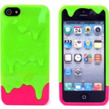 Katecase Hot Sell Melting Ice Cream Hard Back Cover Case for iPhone 5 5S Green/Hot Pink