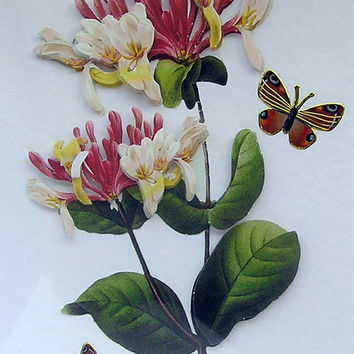 Honeysuckle - Hand-Crafted 3D Decoupage Card - Blank for any Occasion (1746)