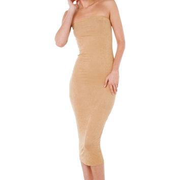 Beautiful Killer Strapless Nude Suede Midi Dress