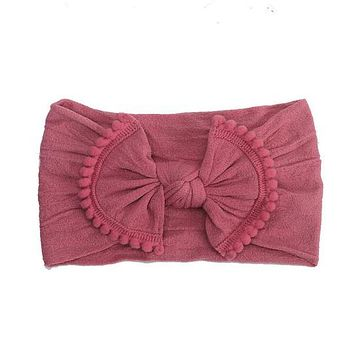 NYLON BOW WITH POM HEADBAND