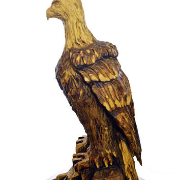 Eagle Chainsaw Wood Carving, Wood Sculpture, Wood Gift for Log Home Decor, Hand Carved by Josh Carte, Made in Ohio, Animal Bird Carving, Art