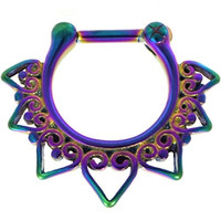 100% Steel Tribal Heart Fan Septum Clicker Jewelry 16G(1.2mm) (4 Colors Available) (Rainbow)