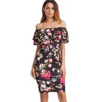 Black Off Shoulder Floral Print Double Layered Flounce Bodycon Dress