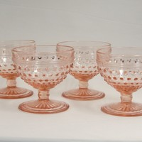 Anchor Hocking Pink Hobnail Sherbets Set of 4 Pink Depression Glass