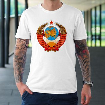 Fashion t-shirts Custom Design Unique CCCP Russian T Shirt USSR Soviet Union KGB Moscow New Arrival Russia Putin t shirt #1131