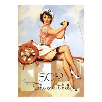 50th Birthday, Vintage, Sexy Pin Up Girl, Custom Card
