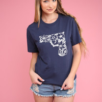 Navy Blue Floral Gun Graphic Unisex Tee