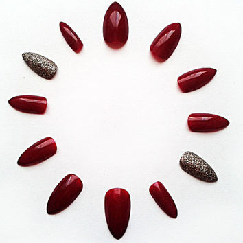 Wine Red & Gold Stiletto Fake Nails, Hand Painted False Nails, Handpainted Artificial Nails, Nail Art Design