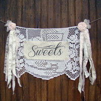 Dessert Table, Wedding Banner Sweets Banner, Photo Prop Party Banner Wedding Decoration, Vintage Inspired, Shower Bunting, Rustic Decoration