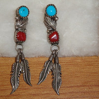 Vintage Native American Turquoise and Coral Dangle Earrings Sterling Silver