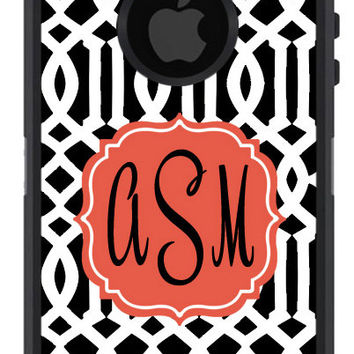 OTTERBOX DEFENDER iPhone 5 5S 5C 4/4S iPod Touch 5GCase Custom Black Imperial Trellis Lattice Coral - 3 Letter initial Monogram Personalized