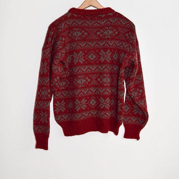 Vintage 90s Red Pattern Sweater Large