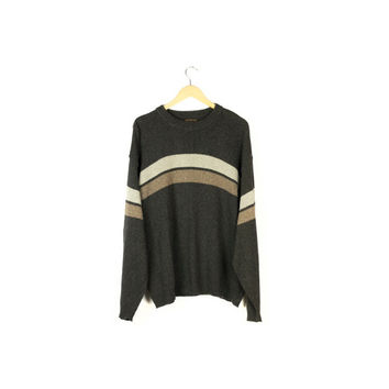 REI basic striped sweater / 1990s classic / center stripe / brown / crew neck / stripes / pullover / boxy 90s grunge / mens large