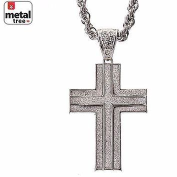 "Jewelry Kay style Men's Silver Plated Hip Hop Cross Pendant 30"" Rope Chain Necklace Set HC 5053 S"