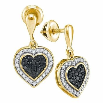 10kt Yellow Gold Women's Round Black Color Enhanced Diamond Heart Frame Dangle Earrings 1-2 Cttw - FREE Shipping (USA/CAN)
