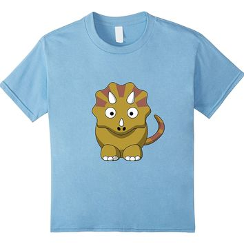 Kids Cartoon Triceratops Shirt For Kids