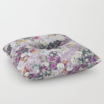 Botanical Flowers Purple Floor Pillow by RIZA PEKER