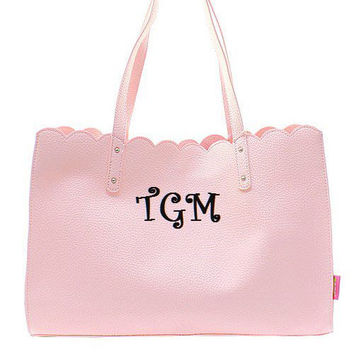 Monogrammed Scalloped Pink Tote Bag  Monogrammed Handbag  Monogrammed Tote Monogrammed Bag