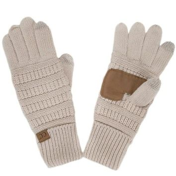 Beige CC Smart Touch Gloves