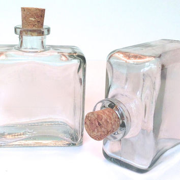 2 Rectangular Clear Glass Bottles- 8.5 Ounce, 250ML Bottle with Cork for Oil and Vinegar, DIY Favors, Bath Salt, Reed Diffuser, Sessonings