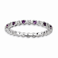 Sterling Silver Stackable Expressions Amethyst & Diamond Ring: RingSize: 7