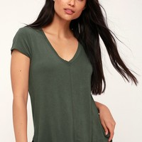 Mya Olive Green V-Neck Tee