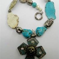Western Cowgirl Necklace Chunky Turquoise Magnesite Cross Necklace