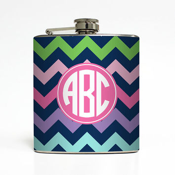 Personalized Flask Circle Monogram Chevron Stripe Initials Bridesmaid Sorority Sister Gifts - Stainless Steel 6 oz Liquor Hip Flask LC-1208