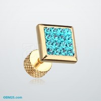 Golden Square Tiffany Multi Gem Fake Plug Earring