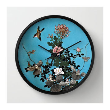 Exquisite Cloisonné Design Wall Clock / Lovely Bird & Floral Design / Image from Antique Japanese Cloisonné Charger Plate