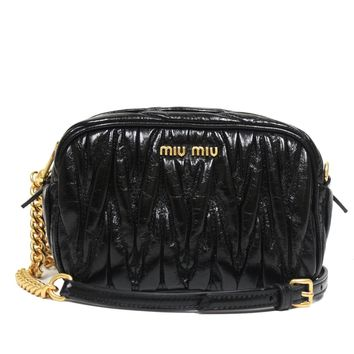 Miu Miu Women's Matelasse Black Leather Chain Crossbody Shoulder Bag 5BH634