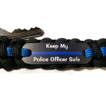 Keep my Police Officer Safe Thin Blue Line Keychain