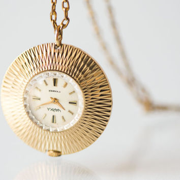 Gold plated lady's watch pendant, necklace women's watch Seagull, round Soviet watch pendant rare design