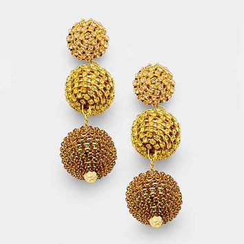 Gold & Topaz Rhinestone Bon Bon Style Double Ball Drop Earrings