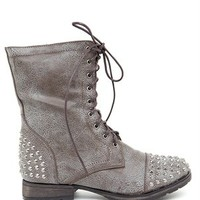 A'GACI Georgia 28 Stud Trim Combat Boot - BEST SELLERS