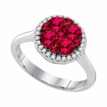14kt White Gold Womens Round Ruby Cluster Diamond Halo Bridal Ring 1.00 Cttw