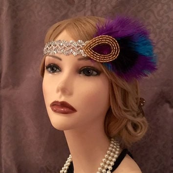 Mardi Gras Silver Sequin Purple Turquoise Black Gold Flapper Headpiece Headband Art Deco Gatsby Costume 20s Halloween Adjustable (712)