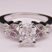 Engagement Ring - Oval Diamond Butterfly Pink Eyes Engagement Ring In 14K White Gold - ES334OVPS