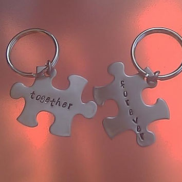 Together Forever Puzzle Piece Keychain Set - Hand Stamped Stainless Steel - customize the words